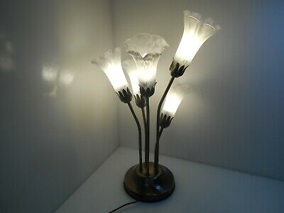 Lampe 5 branches tulipes style Tiffany