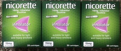 Nicorette Nicotine Inhalator - 15mg, Pack Of 20 X3=60 Cartridges Last One 25%off