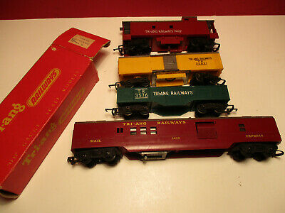 Triang  OO Gauge Transcontinental Mail Coach Gondola Wagon Reefer & Caboose