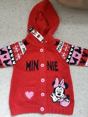 George Red Minnie Mouse Knitted Hooded Jacket Age 1.5 -2 Years Bnwt