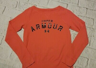 Girls Size Large Under Armour Sweatshirt. Coral with black logo