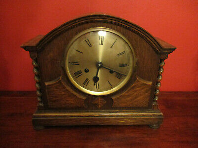 German Edwardian Oak Cased 8 Day Mantel Clock With Barley Twists Pillars