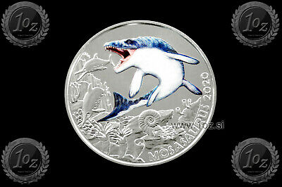 AUSTRIA / ÖSTERREICH 3 EURO 2020 (MOSASAURUS) Commem. COLORED Coin * UNC * NEW