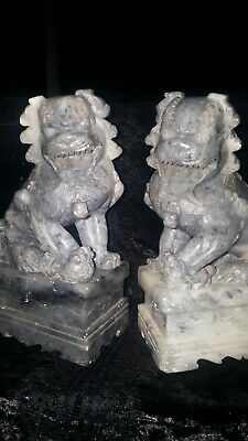 pair antique hand carved soap stone Chinese foo lion dog book end sculptures