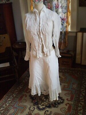 Antique Late 19th To Early 20th C Sheer Cotton Bodice Blouse And Petticoat S/M