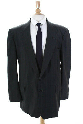 Town Craft Mens Pinstriped Two Button Blazer Blue Gray Size 46 Long