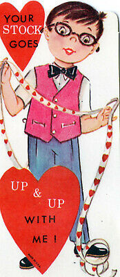 Vntg VALENTINE Card STOCKBROKER Holds TICKER TAPE Your STOCK GOES UP w ME UNused