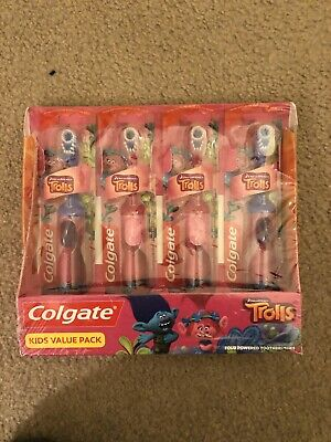 4 Colgate Dream Works Trolls Powered Toothbrushes Extra Soft Bristles NEW