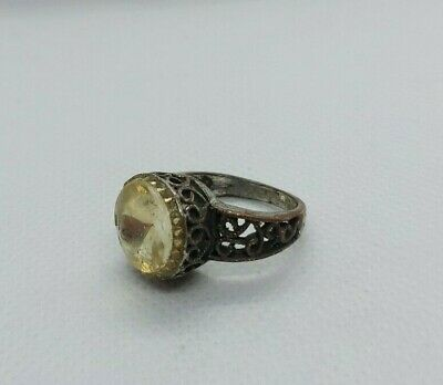 Rare Ancient Ring Bronze Roman White Stone Extremely Old Ring Authentic Artifact