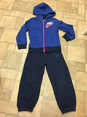 Girls Nike Tracksuit Age 4-5 Years Navy Blue Pink Trousers Hoody Hooded Top