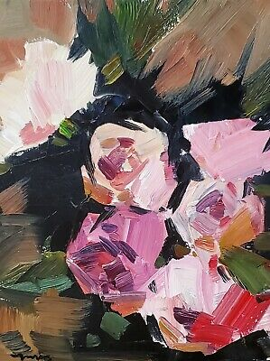 JOSE TRUJILLO Oil Painting Abstract Expressionism Roses FLOWERS MODERNISM ARTS