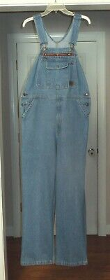 Mens SCHMIDT Cotton Blue Wash Work Denim Jeans Overalls Pants Size 34 x 32
