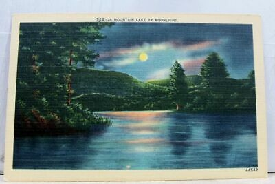 Scenic Mountain Lake Moonlight Postcard Old Vintage Card View Standard Souvenir