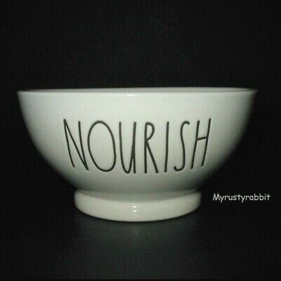 """Rae Dunn NOURISH Cereal Bowl - Ivory Footed Pottery 5.5""""  New"""