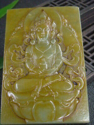 Antique Chinese Nephrite Celadon-Hetian-OLD Jade Tibet-KUANYIN Statue/Pendant