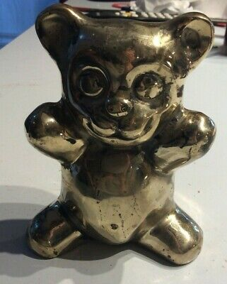 VTG 4-1/2 in Collectible brass teddy bear statue figurine
