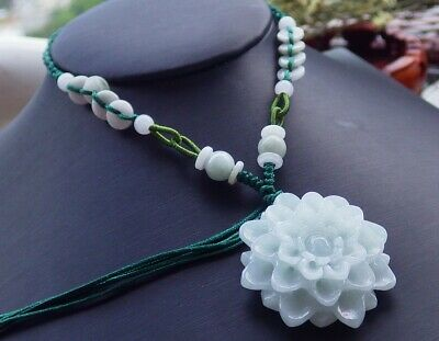 Certified Green Natural A Jade jadeite pendant Orchid Flower Necklace 591961