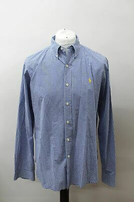 POLO BY RALPH LAUREN Men's Blue White Cotton Slim Fit Checked Casual Shirt XL