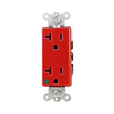 Hubbell 2182R Duplex Receptacle Hospital Grade 2P 3W Grounding 20A 125V, Red