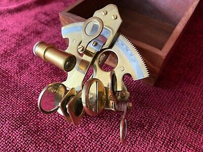 Vintage Brass Nautical Maritime Marine Sextant / Includes Wood Case