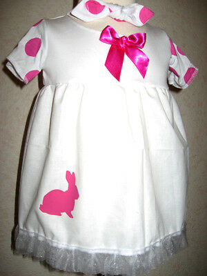 Rabbit dress Pink Girls Baby White spotted Frilly Headband set Shower Outfit UK