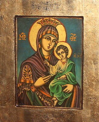 Virgin Mary Christ Child Hand Painted Icon