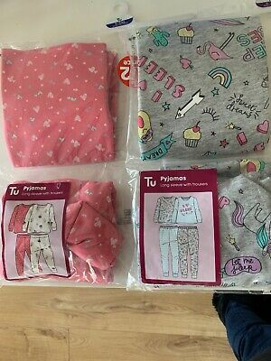 Brand New 2 Pairs Girls Pyjamas Age 6-7 Years Tu