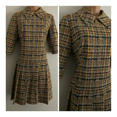Vintage 1960's Mod Cream Mustard Grey Brown Check Pleated Shift Dress Size 14