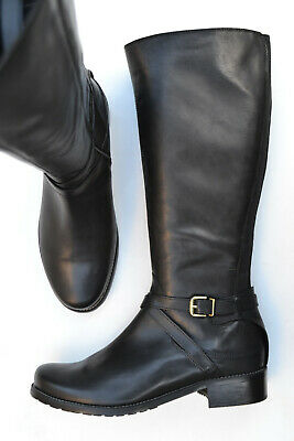 "BNIB Clarks /""Nessa Clare/"" Ladies Black Leather Knee High Riding Boots UK 4E 5 D"