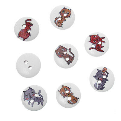 SALE 100 Mixed Cat Design White Wooden Buttons