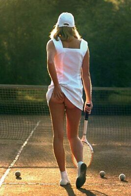 Funny Tennis Girl Skirt Holding hand A0, A1, A2, A3, A4 GLOSSY Wall Poster