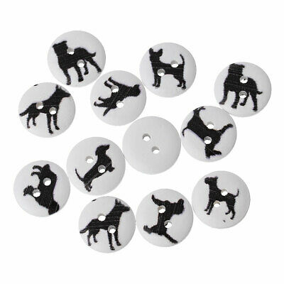 SALE 90 Black Silhouette Mixed Dog Design White Wooden Buttons