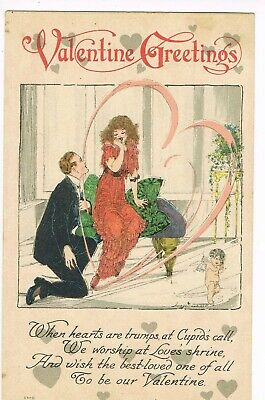 ANTIQUE VALENTINE Postcard     MAN ON ONE KNEE, PROPOSING TO HIS LADY, CUPID