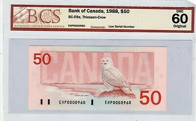 Bank of Canada, 1988, $50.00, BC-59a, Low Serial Number, UNC 60 Original.
