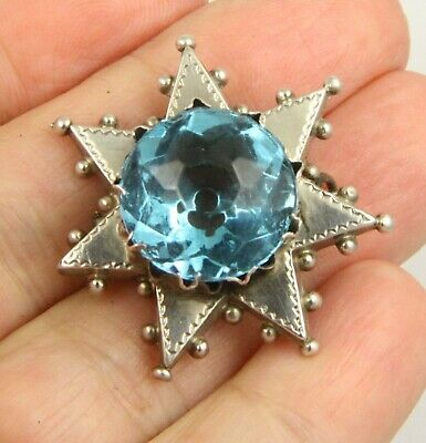 Antique Victorian c1890 sterling silver memorial blue paste topaz brooch pin