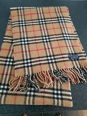 Burberry 100% Lambswool Scarf.Brown Check.