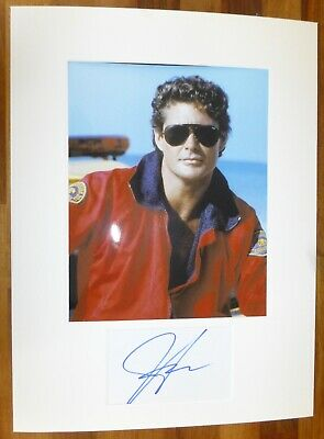 DAVID HASSELHOFF-Hand Signed Card is Presented With A Photo-Mounted & Matted,COA