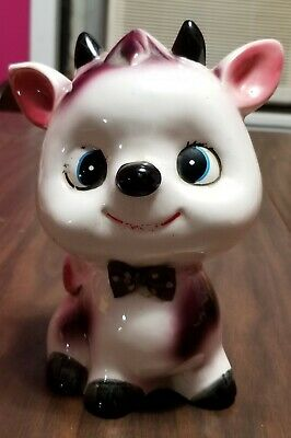 Vintage Capsco Japan Ceramic Big Head Cow Coin / Piggy Bank collectible calf