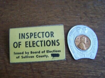 Sullivan County, Ny-Advertising Lucky Horseshoe & Elections Inspector Badge