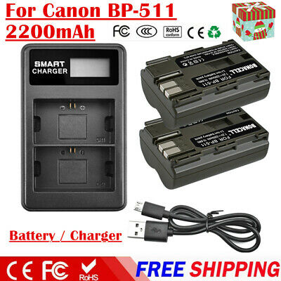2X BP-511 BP-511A Battery Or Charger For Canon EOS 5D 10D 20D 30D 40D 50D Camera