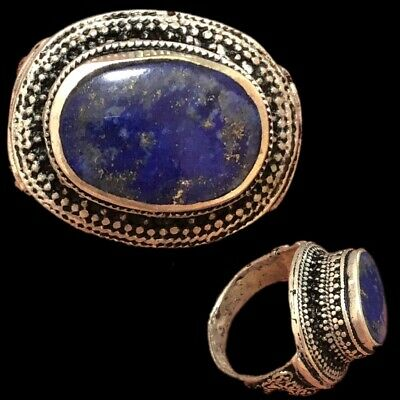 Stunning Top Quality Post Medieval Silver Ring With Lapis Lazuli Stone (6)