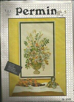 Permin- Vintage  X-kit Vase with Flowers 70-2103 OOP