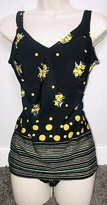 Vintage 1960's Yellow Floral One Piece Swimsuit Women's Size 4