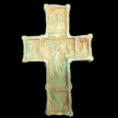 Rare Ancient Roman Bronze Period  Double Sided Reliquary Cross - 200-400 Ad