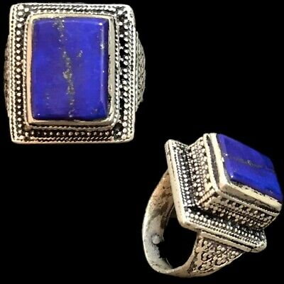 Stunning Top Quality Post Medieval Silver Ring With Lapis Stone (7)