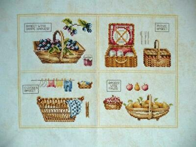 Lanarte Completed Cross Stitch 4 baskets