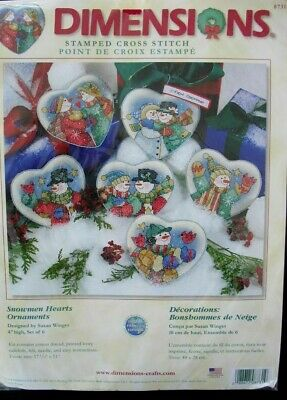 Dimensions   Cross stitch kit Vintage Snowman Hearts Ornaments 8731 NIP