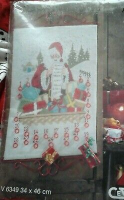 Cewec  Cross stitch kit Adventcalender  Father Christmas V6349 NIP