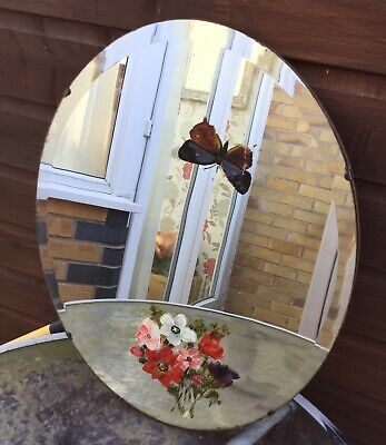 Art Deco 1930s Oval Bevelled Edge Mirror