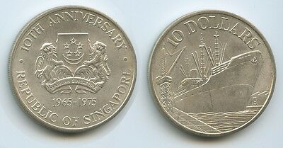 GS167 - Singapore 10 Dollars 1975 KM#11 Silver 10th Anniversary of Independence